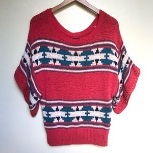 AEO aztec printed chunky knit sweater NWT